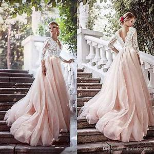Blush pink wedding dresses deep v neck illusion long 3 4 for V back wedding dress