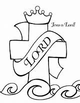 Jesus Coloring Pages Cross Christian God Printable Lord King Easter Name Clipart Exalted Christ Bible Goliath Clip David Sunday Cliparts sketch template