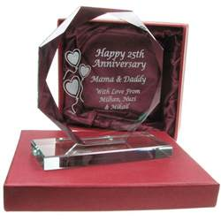 gifts for 25th wedding anniversary personalised 25th silver wedding anniversary engraved cut glass gift ebay