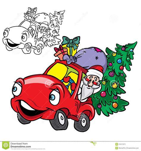weihnachtsmann in einem auto mit weihnachtsbaum stockbild
