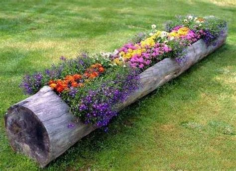 Cute Idea...flower Bed In A Hollowed Out Tree