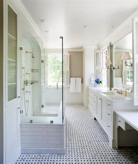 Kid Bathroom with Open Shower and Green Mosaic Tiles