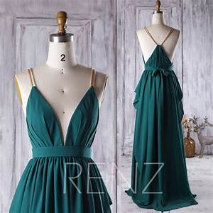 2016 dark green bridesmaid dress v neck ruched wedding With dark green wedding dress