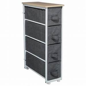 Meuble Rangement Gris : meuble de rangement 4 tiroirs gris fonc ~ Teatrodelosmanantiales.com Idées de Décoration