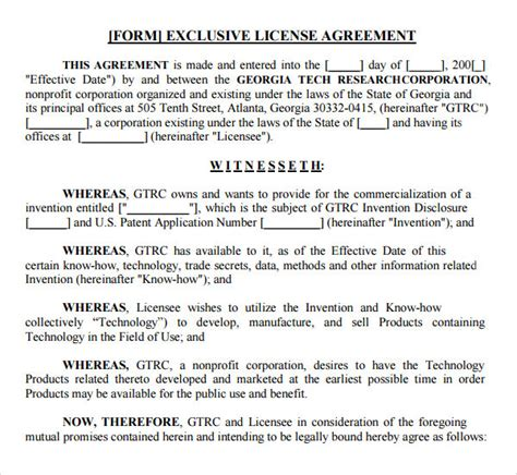 sample license agreement template   documents