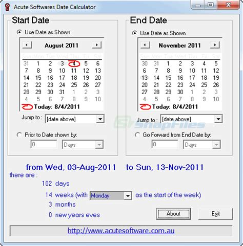 acute date calculator calculate difference