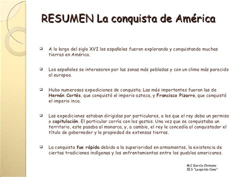 Resumen Corto by La Conquista De Am 233 Rica