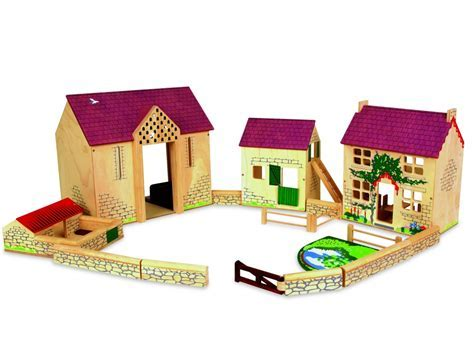 Deluxe Middlebrook Toy Wooden Farm Set by Pintoy   Farm