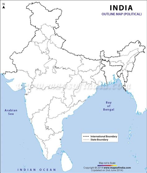 india outline map political