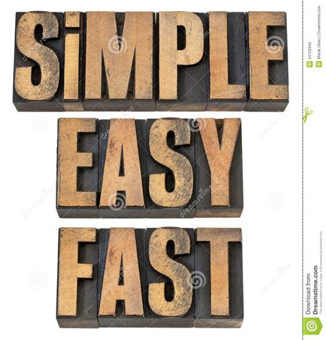 Simple, Easy And Fast In Wood Type Stock Photo  Image Of Wood, Font 24759342