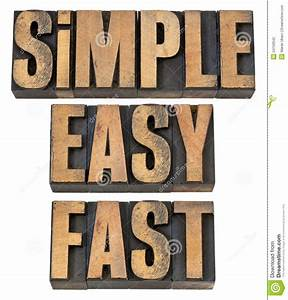 Simple  Easy And Fast In Wood Type Stock Photo
