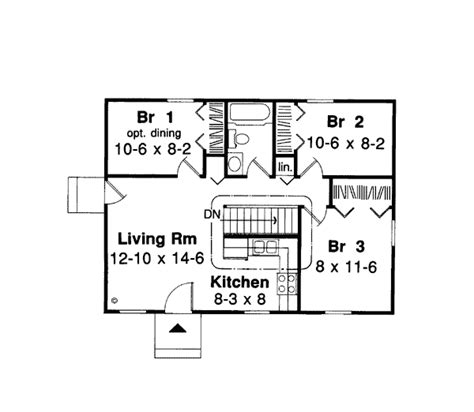 House Plan 34020 Ranch Style with 768 Sq Ft 3 Bed 1 Bath