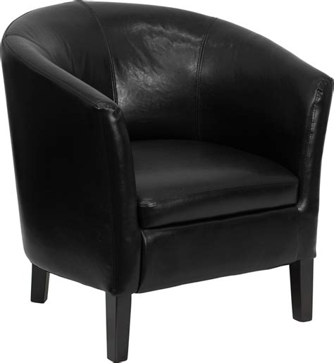 black leather barrel guest club chair bar restaurant