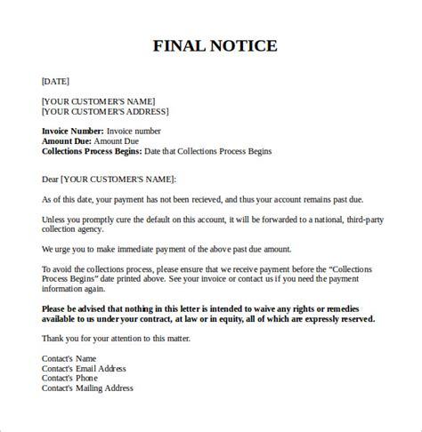 final notice letter    sample templates