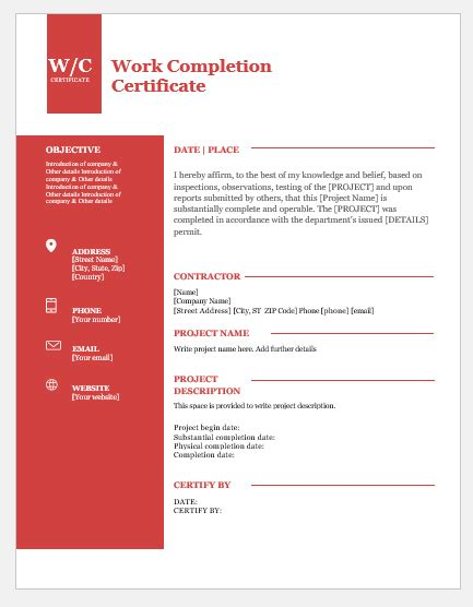 work completion certificates  ms word word