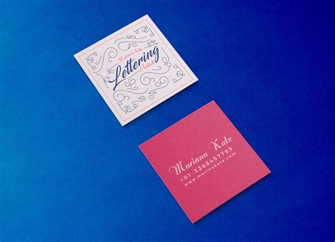 front  square business card mockup psd good