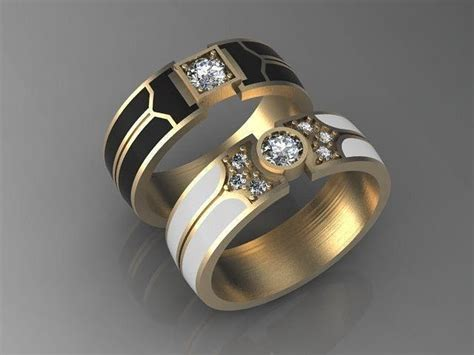 3d printable model pair of wedding bands with enamel