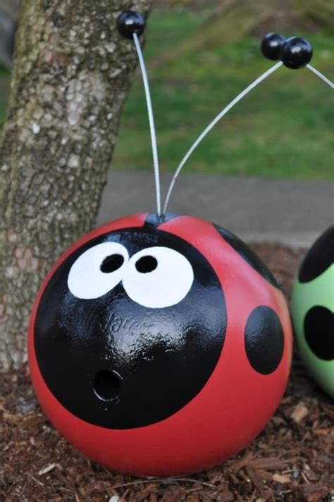 recycled bowling ball cute  garden ornaments  wind