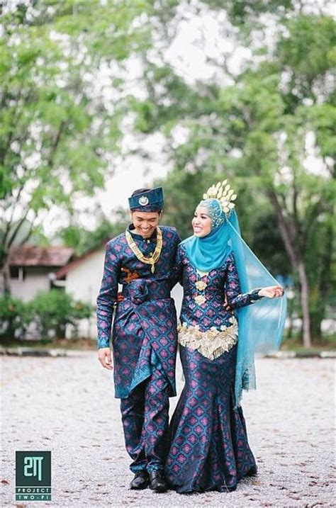songket biru gold songket pinterest beautiful