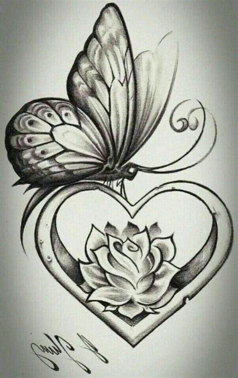 butterfly heart rose tattoo design images