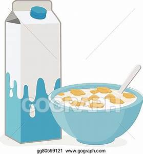 Vector Illustration - Bowl of cereal and milk carton ...