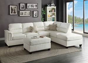 modern white bonded leather sectional couch sofa ottoman With sectional sofa with reversible chaise ottoman