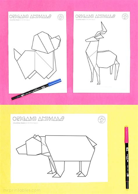 origami animal coloring pages  printables
