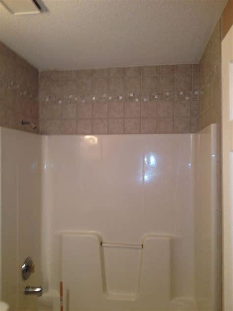 tile    fiberglass tub guestmy bathroom