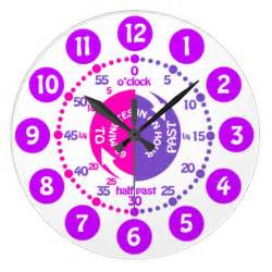 clock learn learn to tell time pink purple clock zazzle
