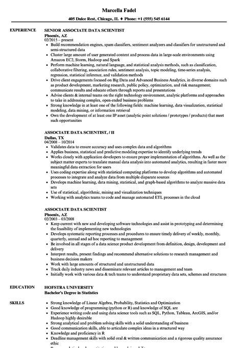 Data Scientist Resume by Associate Data Scientist Resume Sles Velvet