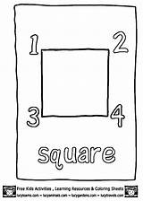 Square Coloring Shapes Activities Dot Preschool Educational Learning sketch template