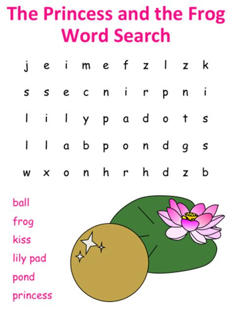 princess   frog word search puzzles