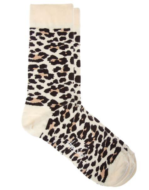 Printed Socks lyst happy socks leopard print socks in black for