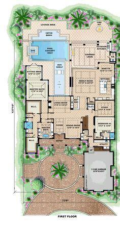 Mediterranean House Plan: Luxury 1 Story Home Floor Plan