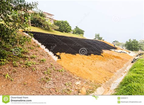 erosion steep slopes slope erosion control with grids and earth on steep slope stock image image 60900571