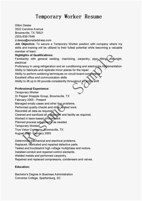 resume sles temporary worker resume sle