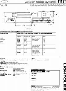 Lightolier Lytecaster Recessed Downlighting 1113t Users Manual