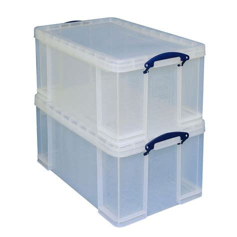 storage box really useful box stackable storage box 64l clear pack