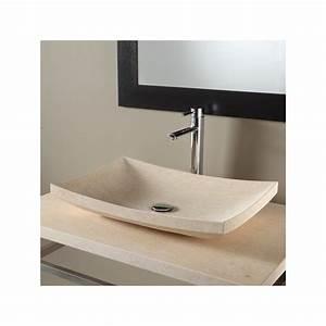 Vasque En Pierre : vasque salle de bain rectangulaire vasques en pierre beige ~ Teatrodelosmanantiales.com Idées de Décoration