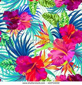 vector pattern with tropical flowers Detailed colorful