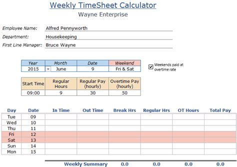 excel timesheet calculator template