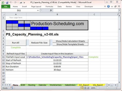 capacity planning template capacity planning tool excel template for production planning