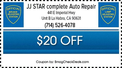 Brake And L Inspection Test by 21 75 Smog Test With Smog Coupon La Habra