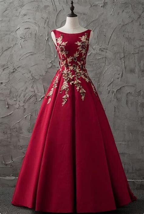 burgundy satin modest prom dress party  dresses