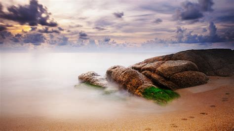 full hd wallpaper beach sea horizon moss fog desktop