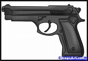 How to Draw a Simple Gun, Step by Step, guns, Weapons ...