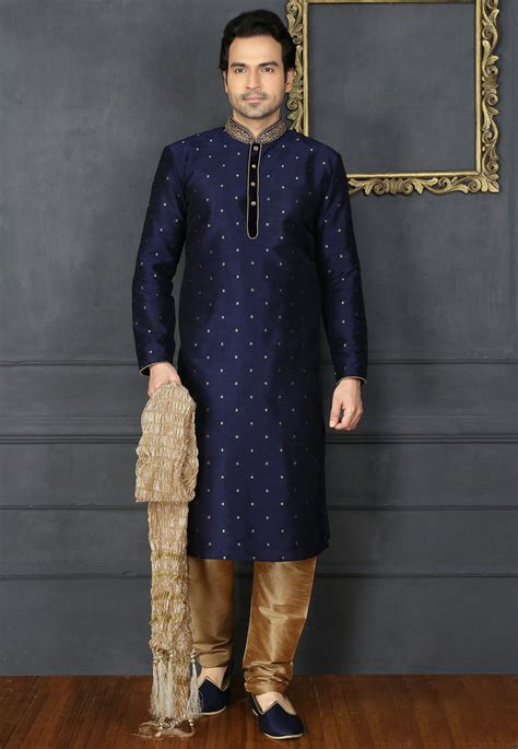 hand embroidered art silk jacquard kurta set  navy blue