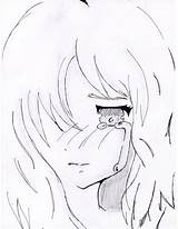 Sad Anime Crying Lonely Sketch Drawings Deviantart Template Coloring Manga Larger Credit sketch template