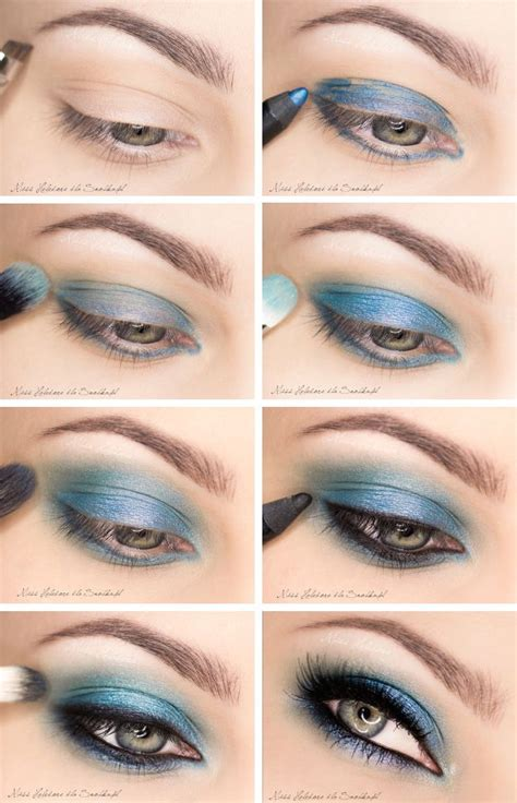 glowing eye makeup ideas  blue shadows pretty