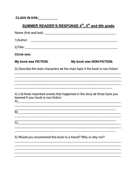 Book Report Template Book Report Template Summer Book Report 4th 6th Grade